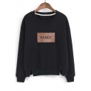 New Arrival RABBIT Letter Slit Hem Detail Round Neck Long Sleeve Sweatshirt