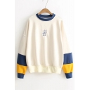 Popular Color Block Sleeve Round Neck Pullover Sweatshirt with Embroidery Detail