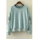 Stylish Embroidery Long Sleeve Round Neck Pullover Sweatshirt