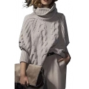 Women's Acrylic Loose High Neck Chunky Cable Long Sleeve Sweater