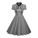 Retro Houndstooth Print Buttons Chest Details Bow Collar Dress