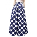 Polka Dot Print Pockets Detail Maxi Skirt