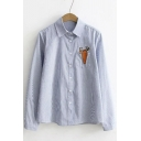 Striped Plain Embroidery Pocket Rabbit Carrot Single Breasted Lapel Button Down Shirt