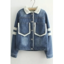 Fall Winter Single Breasted Lapel Striped Panel Long Sleeve Fur Denim Jacket with Two Pocket in Front