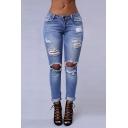 Women's Ripped Washed Boyfriend Denim Trousers Jeans