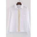 Plain Contrast Placket Single Breasted Lapel Long Sleeve Button Down Shirt