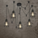Industrial Style Five-light Multi Light Pendant with Petal Cage