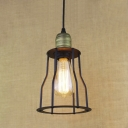 Vintage Style Slatted Outer Cage 1-Lt Indoor Pendant Light