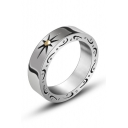 Unisex Fashion Sun Pattern Insert Titanium Steel Ring