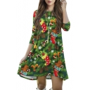 Trendy Christmas Theme Print 3/4 Length Sleeve Round Neck Mini Swing Dress
