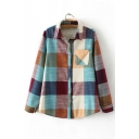 Fall Winter New Plaid Print Fleece Shirt with One Pocket