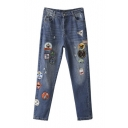 New Embroidery Patchwork Ripped Mid Waist Jeans