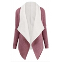 Women's Notched Lapel Color Block Long Sleeve Open-Front Coat