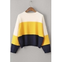 New Striped Color Block Dropped Long Sleeve Sweater with Round Neck
