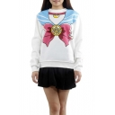 Sweaty Sailor Moon Bow Print Pullover Sweatshirt with Long Sleeve
