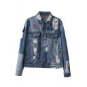 Ripped Single Breasted Studded Embroidery Letter Lapel Denim Coat with Long Sleeve