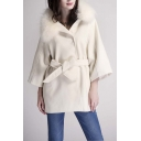 Fashion Loose Fur Hooded Open-Front Belt Waist 3/4 Length Sleeve Coat