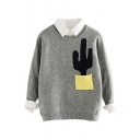 Fashion Color Block Cactus Pocket Round Neck Long Sleeve Sweater