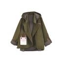 New Arrival Cartoon Asymmetrical Hem Hooded Coat