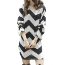 Oversize Design Color Block Long Sleeve Loose T-Shirt Dress