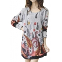 Botanical Print Loose Pullover Long Sleeve A-Line Midi Dress