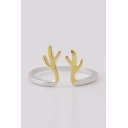 Lovely Deer Antlers Open Silver Ring