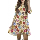 Sweaty Christmas Theme Print 3/4 Length Sleeve Mini Swing Dress