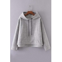 Fall Winter Hooded Plain Dropped Long Sleeve High and Low Trim Hoodie