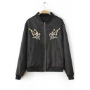 New Arrival Stand-Up Collar Embroidery Fishes Zipper Bomber Jacket