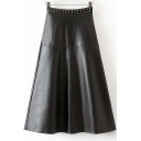 New Studded High Waist Panel PU Maxi Swing Skirt