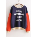 Fashion Letter Print Color Block Round Neck Long Sleeve Sweatshirt