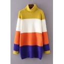 High Neck Colorful Stripe Color Block Pullover Sweater