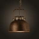 Vintage Style Round Indoor Pendant Light with Bowl Shade in Antique Rust Finish