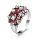 Lady's Fashion Floral Zircon Ring