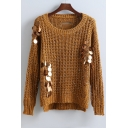 Fashion Sequined High and Low Trim Ladder-Back Knitted Sweater with Round Neck Long Sleeve