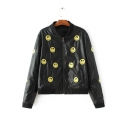 Embroidery Smile Face Zipper Placket Stand-Up Collar Leather Jacket