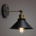 Black Cone Shade 1 Light Wall Sconce