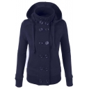 Fashion Thick Hooded Double Breasted Long Sleeve Hoodie