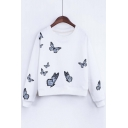 Stylish Butterfly Print Round Neck Long Sleeve Sweatshirt