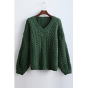 New Fashion Cable Knit V-neck Sweater with Drop Sleeve