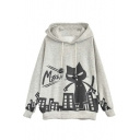 Stylish Cat Color Block Batwing Sleeve Hoodie Gray
