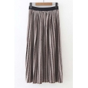 High Waist Velvet Pleated Maxi Skirt