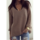 Women's Sexy V-neck Long Sleeve Loose Fit Sweater