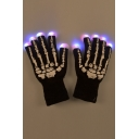 Christmas Skull Pattern Flash Fingers Elastic Trim Gloves