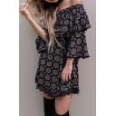Stylish Off the Shoulder Bell Sleeve Asymmetric Hem Dress