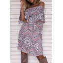 Off the Shoulder Bell Sleeve Sweet Boho A-Line Dress