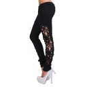 Sexy Women Denim Skinny Jeans Crochet Lace Party Jeans Pants Trousers