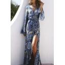 Long Sleeve Boho Style Maxi Dress Beach Plunge Neck Tie Waist Dress