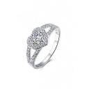 Couple Fashion Zircon Ring with Heart Diamond