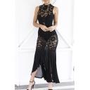Hollow Lace Design Patchwork Sexy Fishtail Hem Sleeveless Women's Elegant Dress